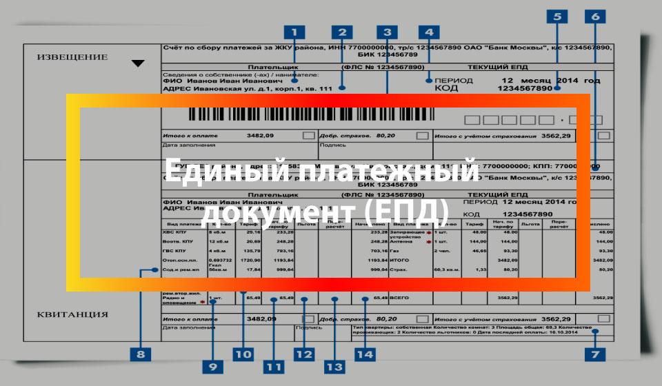 Единый платежный документ (ЕПД) за коммунальные услуги